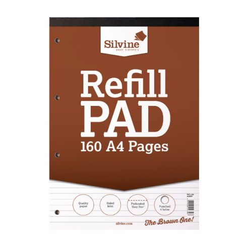 Silvine Punched 4 Hole Headbound 80 Leaf Ruled Feint Refill A4 Pad (Pack of 6) A4RPF