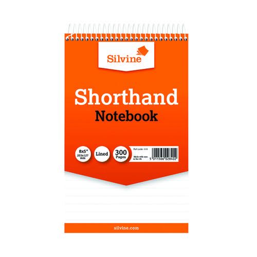 Silvine Spiral Bound Shorthand Notebook 127x203mm 150 Leaf Ruled Feint (Pack of 6) 449