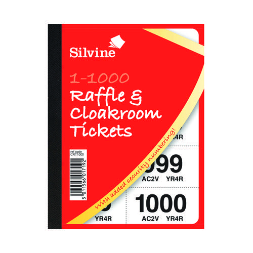 Image for Cloakroom and Raffle Tickets 1-1000 (Pack of 6) CRT1000