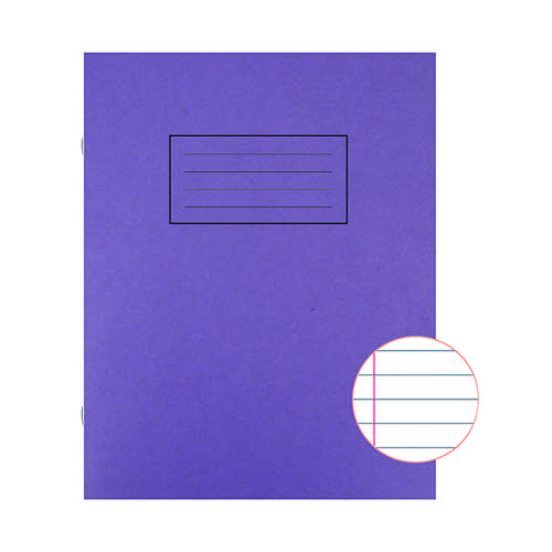 Silvine Feint Ruled With Margin Purple 229x178mm Exercise Book 80 Pages (Pack of 10) EX100