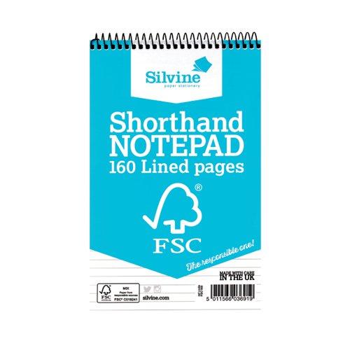 Silvine FSC Spiral Bound Shorthand Notebook Feint (Pack 10)