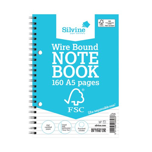 Silvine Envrion Wirebound Notebook 160 Pages A5 (Pack of 5) FSCTWA5