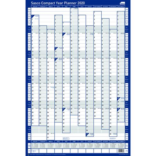 Sasco Compact Year Planner Portrait 2020 (Unmounted, laminated with UK/ROI bank holidays) 2410107