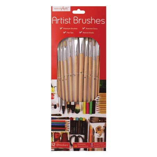 Work of Art Natural Bristle Artist Brushes Flat Tip (Pack of 12) TAL06717