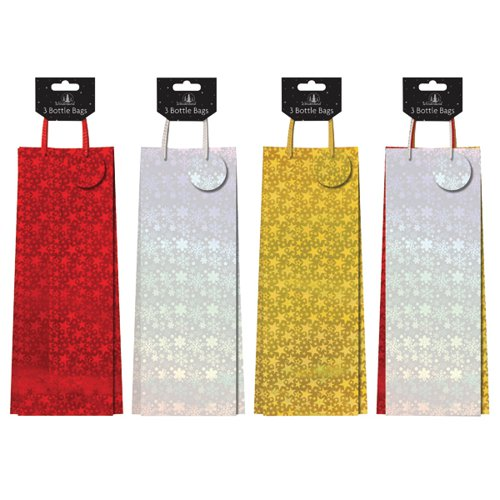Pack 3 Holographic Bottle Bags (Pack of 12) 8454