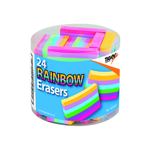 Rainbow Coloured Block Erasers (Pack of 24) 305047