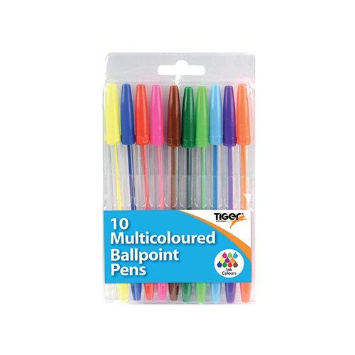 Ballpoint Pens 10 Multicoloured (Pack of 12) 302256