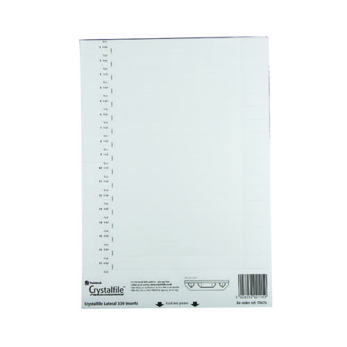 Rexel CrystalFile Lateral 330 Tab Inserts White (Pack of 34) 70676