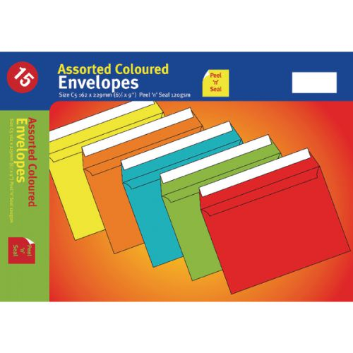 ASSORTED C5 P/SEAL VIBRANT ENVELOPE PK10