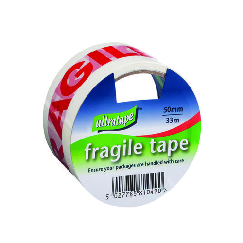 Fragile Tape 50mmx33m 1 Roll Ultra Red/White (Pack of 6) FRAG-5033-UL1