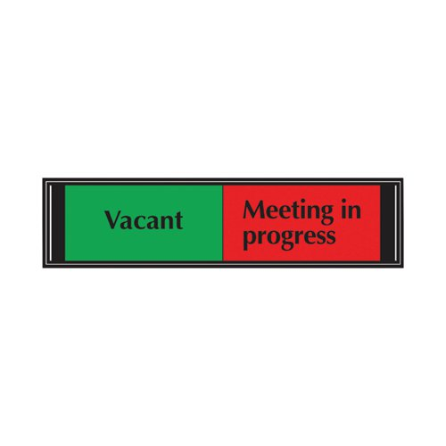 Sliding Sign Vacant/Meeting In Progress Self Adhesive 225 x 52mm