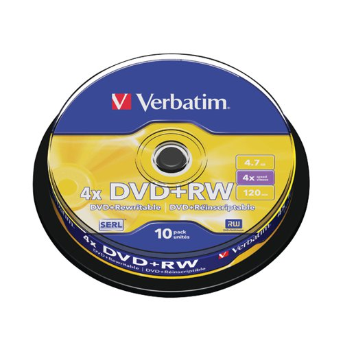 Verbatim DVD+RW Silver Non-Printable Spindle (Pack of 10) 43488