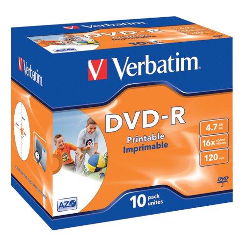 Verbatim DVD-R Speed Jewel Case 4x 4.7GB (Pack of 10) 43285
