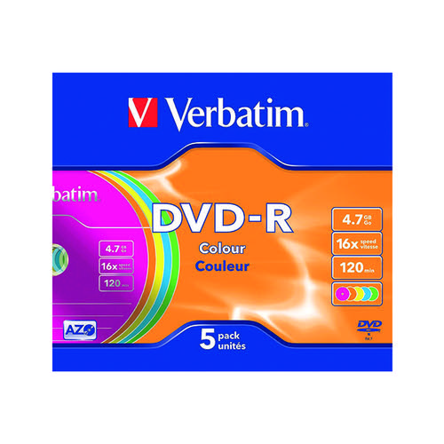 Verbatim DVD-R Non-Printable Jewel Case 16x 4.7GB (Pack of 5) 43557