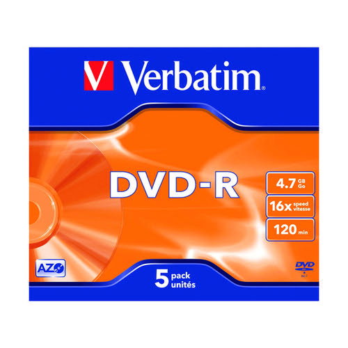 Verbatim DVD-R Speed Jewel Case 4x 4.7GB (Pack of 5) 43246