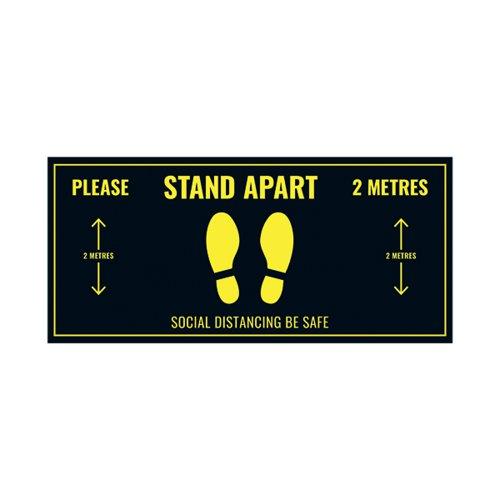 Social Distance Floor Sticker 400x180mm (Pack of 5) Socialstick01Rec