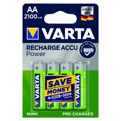 Varta AA Rechargeable Accu Battery NiMH 2100 Mah (Pack of 4) 56706101404
