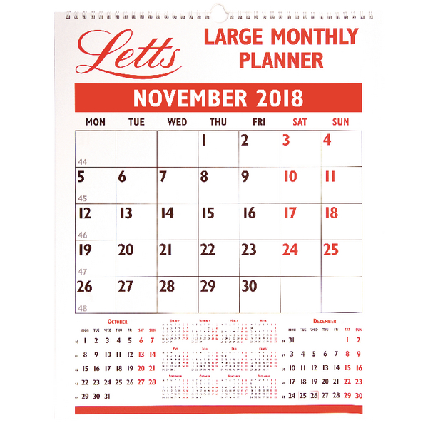 Letts Large Monthly Planner 2018 5-TLMP