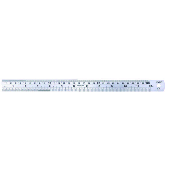 Linex 30cm Steel Ruler LXESL30