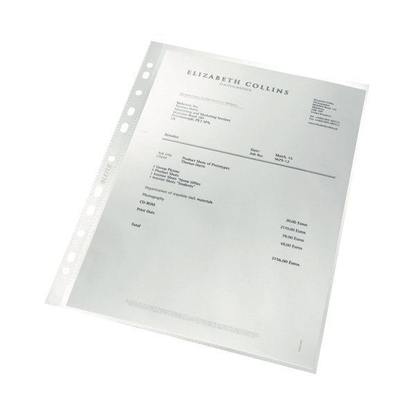 Leitz Punched Pockets Recycled A4 (Pack of 100) 4791-10-03