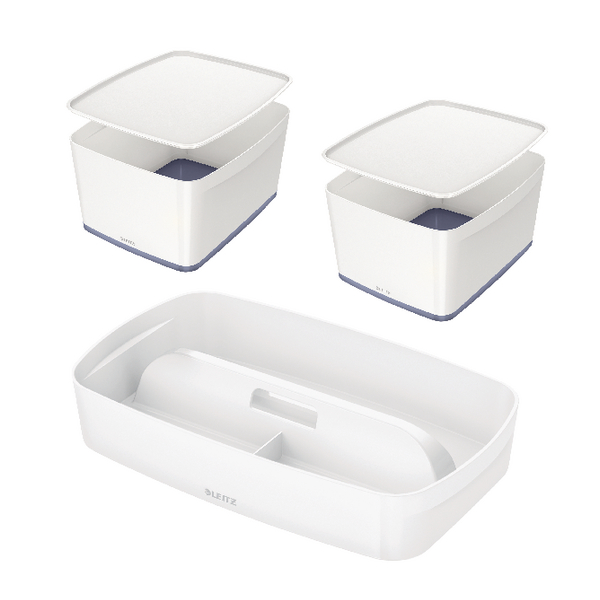 Leitz Mybox Large with Lid Grey (Pack of 2) with Free Tray LZ810789