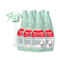 2Work Spray And Wipe With Bleach 750ml (Pack of 6) 2W07245
