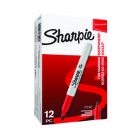 Sharpie Permanent Marker Fine Red (Pack of 12) S0810940