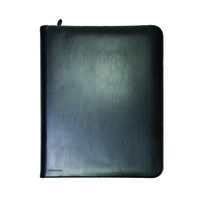 MONOLITH ZIP LEATHER RING BINDER A4 BLCK
