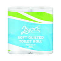 2Work Luxury 2-Ply Quilted Toilet Roll 200 Sheets (Pack of 40) DQ4Pk