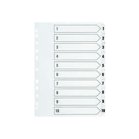Q-CONNECT 1-10 PUNCHED INDEX A4 WHITE