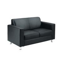 Avior Black Leather Faced Executive Reception Sofa KF03530
