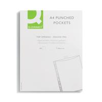 Q-Connect Punched Pockets Polypropylene 50 Micron A4 Clear (Pack of 100) KF24001
