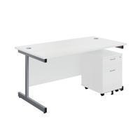 First Single Desk 1600x800mm White/Silver 2 Drawer Pedestal KF803577