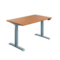 Jemini Sit Stand Desk 1200x800mm Nova Oak/Silver KF809722