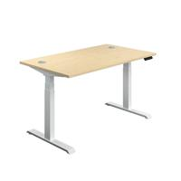 Jemini Sit Stand Desk 1200x800mm Maple/White KF809777