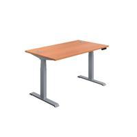 Jemini Sit Stand Desk 1400x800mm Beech/Silver KF809807