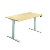 Jemini Sit Stand Desk 1400x800mm Maple/White KF809890