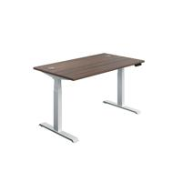 Jemini Sit Stand Desk 1600x800mm Dark Walnut/White KF809999