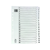 A4 White 1-20 Mylar Index (Mylar reinforced tabs and holes for durability) WX01531