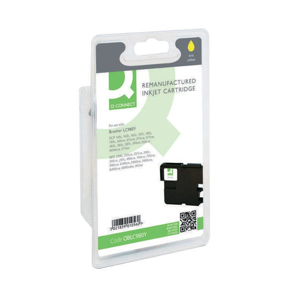 Q-Connect Brother Remanufactured Yellow Inkjet Cartridge High Yield LC980Y