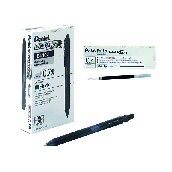 Pentel EnerGelxRetractable 0.7mm Black Liquid Gel Rollerball Pen (Pack of 12) BL107/14-A