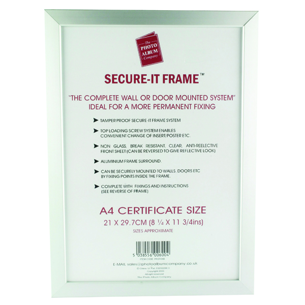 Photo Album Company Silver Secure It Aluminium A4 Frame Pasfa4b