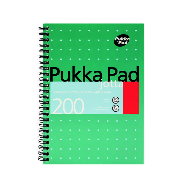 Pukka Pad Ruled Wirebound Metallic Jotta Notebook 200 Pages A5 (Pack of 3) JM021