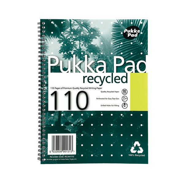 Pukka Pad Recycled Ruled Wirebound Notebook 110 Pages A4 (Pack of 3) RCA4100