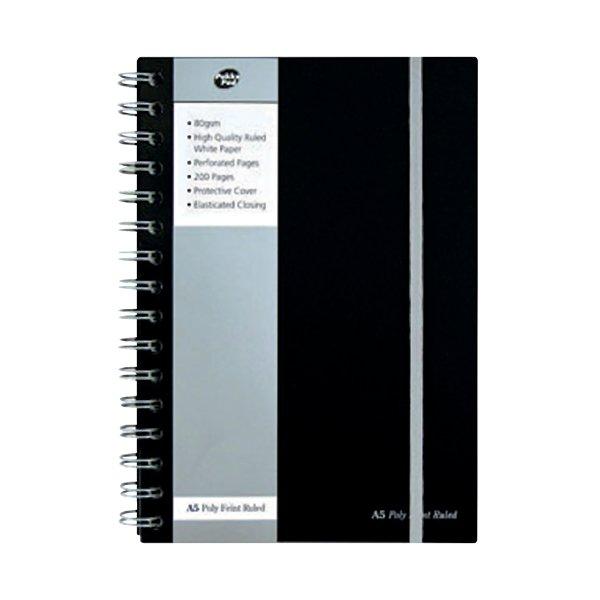 Pukka Jotta Notebook A5 Wirebound Polypropylene Feint Ruled 160 Pages Black SBJPOLYA5