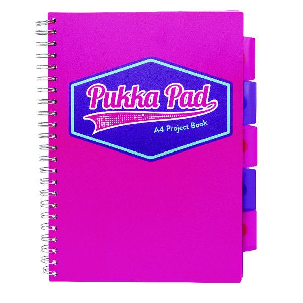 Pukka Pad Vision Wirebound Project Book A4 Pink (Pack of 3) 8609-VIS