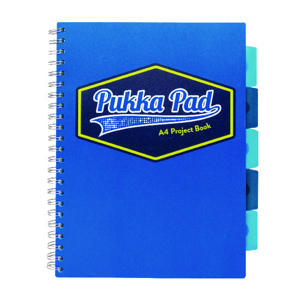 Pukka Pad Vision Wirebound Project Book A4 Blue (Pack of 3) 8610-VIS