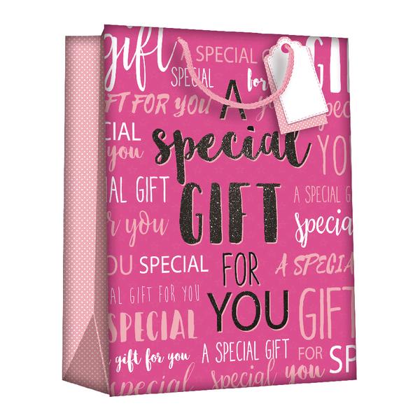 Regent Gift Bags Wordy Pink Medium (Pack of 6) Z723M