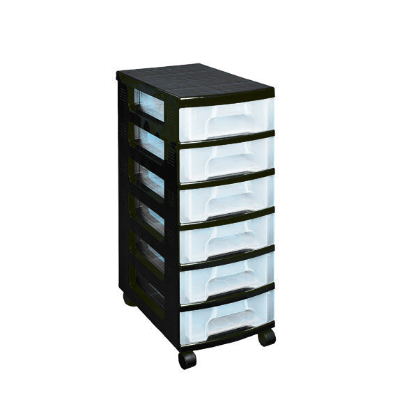 Really Useful Black Plastic Storage Tower With 6 Drawers ST6X7C