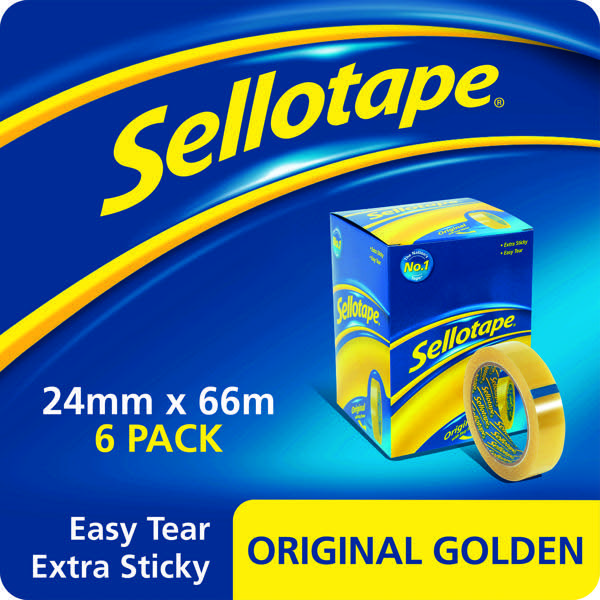 Sellotape Original Golden Tape 24mmx66m (Pack of 6) 2028242